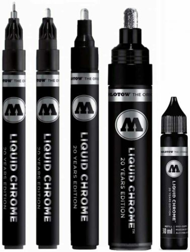Liquid Chrome Pump Marker 1mm 2mm 4mm 5mm 30ml refill Model Graffiti Molotow 703