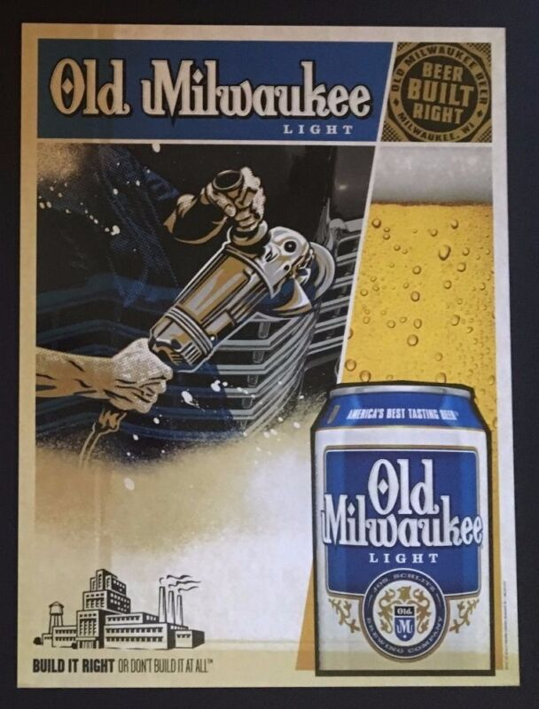 """Old Milwaukee Light Beer Posters-""""Beer Built Right""""-Man Cave- shipping discount"""