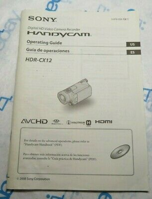 Genuine Sony HDR-CX12 Handycam Camera Owners Manual Guide Original for sale  Shipping to India