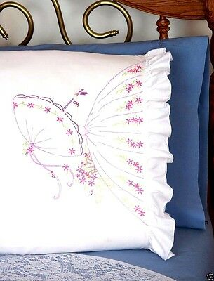 """Fairway Stamped Embroidery kit 20"""" x 30"""" Pillowcases ~ UMBRELLA LADY #82523 Sale"""