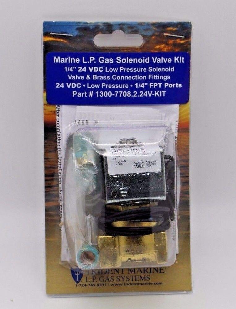 "Trident Marine 1300-7708.2-Kit Marine L.P.Gas Solenoid Valve kit 1/4"" 24VDC.NEW"