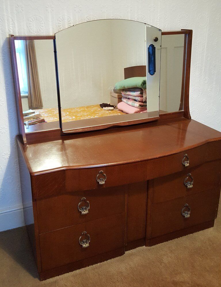 stunning 5 piece vintage 1950s walnut bedroom set  in