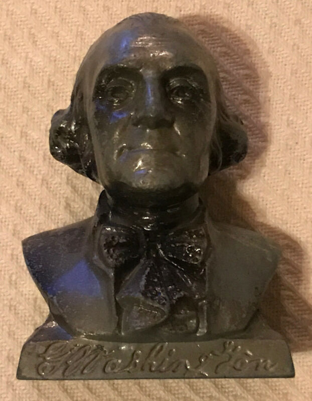 Vintage The Bank Of Virginia George Washington Bust Head Metal Coin Bank