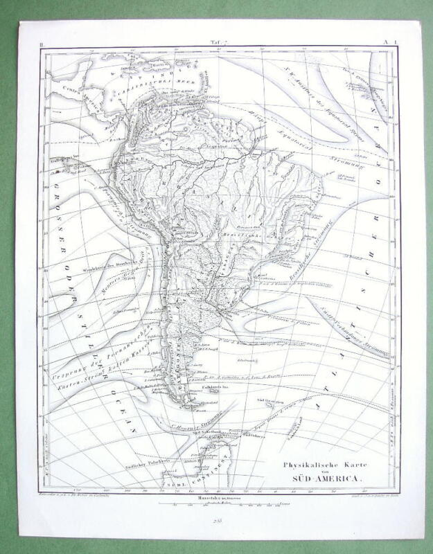 1844 MAP - SOUTH AMERICA + Sea Currents