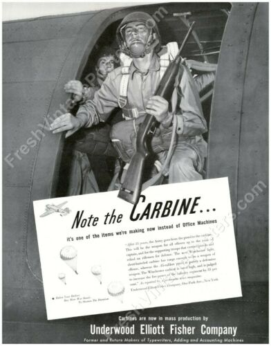 1941 US Army Airborne soldier M1 carbine photo Underwood ad NEW poster 19x24