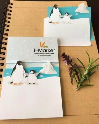 50 Pack Of Penguiniceberg Sticky Note Reminder Pad Memo Stickers Stationary