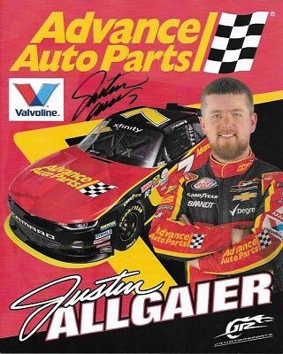Signed 2017 Justin Allgaier  Advance Auto Parts   7 Nascar Xfinity Postcard