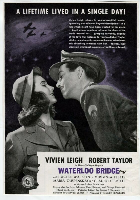 VTG Movie AD Waterloo Bridge 1940 Film Noir Vivien Leigh Robert Taylor Drama War