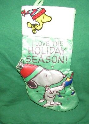 PEANUTS WORLDWIDE HOLIDAY CHRISTMAS STOCKING SNOOPY AND WOODSTOCK