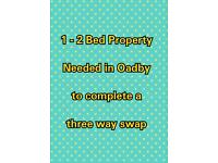 1 - 2 bed property in Oadby needed must have garden to complete a 3 way swap