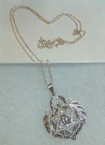 """925 Sterling Silver and Marcasite STAR of DAVID 1-5/8"""" Pendant & 18"""" Necklace"""