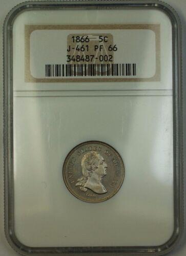 1866 Nickel Pattern Gem Proof 5c Coin Ngc Pr 66 J-461 Judd George Washington Ww