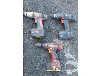 3 X cordless drills