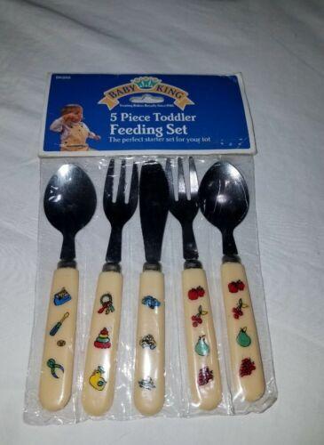 VTG 1999 Baby King Toddler Feeding Utensil Set Fruit Toys Vehicles Tools Regent