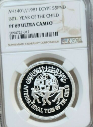 1981 EGYPT SILVER 5 POUNDS S5PND YEAR OF THE CHILD NGC PF 69 ULTRA CAMEO