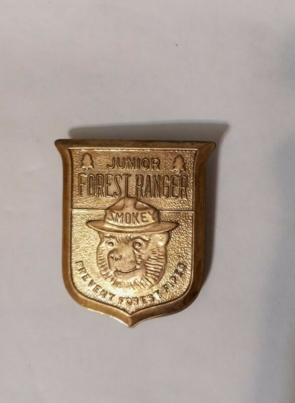 Vintage Junior Forest Ranger - Prevent Forest Fires Smokey the Bear Badge
