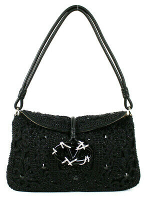 VALENTINO Black Beaded Crochet Knit Crystal Logo CATCH Evening Bag Bead Knitted Bags