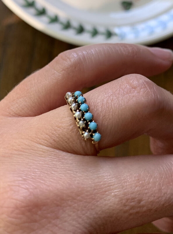 Antique Dble Row PEARL TURQUOISE RING Victorian 10k Gold Geometric Stacker Band