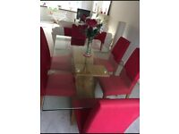 6 Cherry red dining chairs