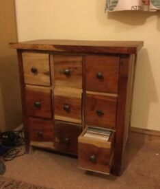 Solid wood cupboard with 9 drawers suitable for CDs