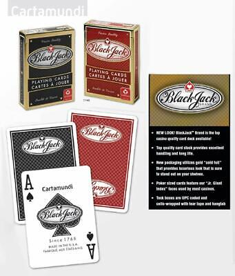 BLACK JACK BRAND CASINO STYLE PLAYING CARDS (2 Pack, red + black) Made in USA - Casino Style
