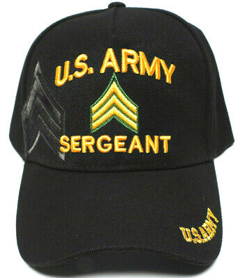 ARMY SERGEANT Cap/Hat w/ Shadow Stripes Black Military FREE SHIPPING*