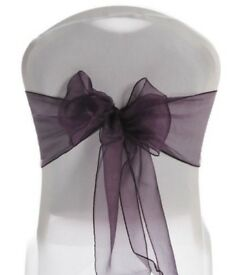 60 plum organza chair sashes