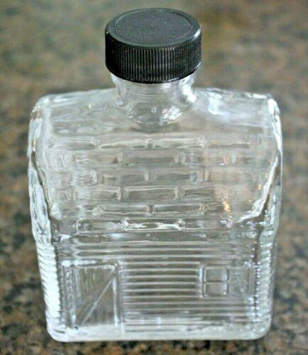 Vintage Log Cabin Shaped Syrup Clear Glass Figural Bottle with black lid    PP55