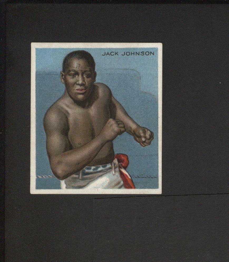 1910 t218 mecca cigarettes tobacco boxing jack johnson front view no creases !!