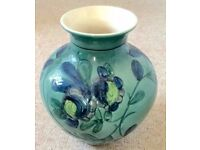 HAND PAINTED TURQUOISE FLOWER VASE, POTTERY CERAMIC, RELIEF PAINTWORK