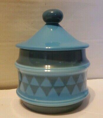 Goebel Sugar Bowl Blue Teal Triangle Geometric Design w/ Lid Finmark W Germany