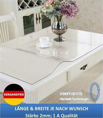 Tischfolie 2mm Tischdecke Transparent Schutzfolie Klar Maß n. Wunsch 1A Qualität Tischdecke