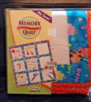 Memory Personalize Quilt No Sew Birthday Party Activity Kit Fabric by Pentel NIP