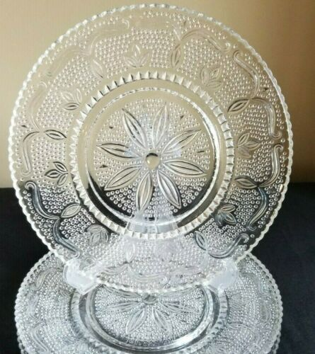 2 Vintage FEDERAL GLASS HERITAGE CLEAR SANDWICH SCROLLS Dinner Plates 1940