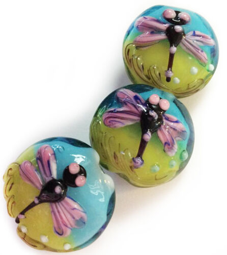 Handmade Lampwork 19 mm Lentil Glass Beads Green Blue Dragonfly 4 Beads (#a50)