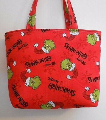 Christmas Totes (Handmade Christmas Merry Grinchmas Seuss Grinch Tote Purse)