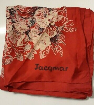 Vintage Scarf Styles -1920s to 1960s Vintage Jacqmar Silk? Red White Scarf 30