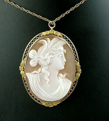 Yellow Gold Cameo Pin - Large Vintage 10k Yellow Gold Woman Cameo Pin Brooch Pendant Necklace 1 7/8