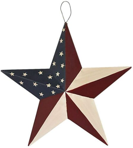 "12"" July 4th Patriotic Wall Decor American Flag Barn Metal 3D Star Home Decor"