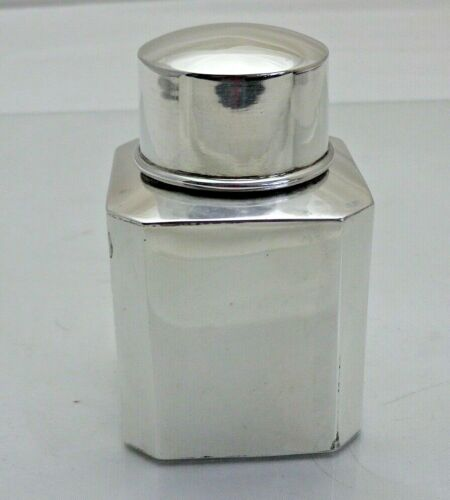 Antique Sterling Solid Silver Square Tea Caddy Canister  B
