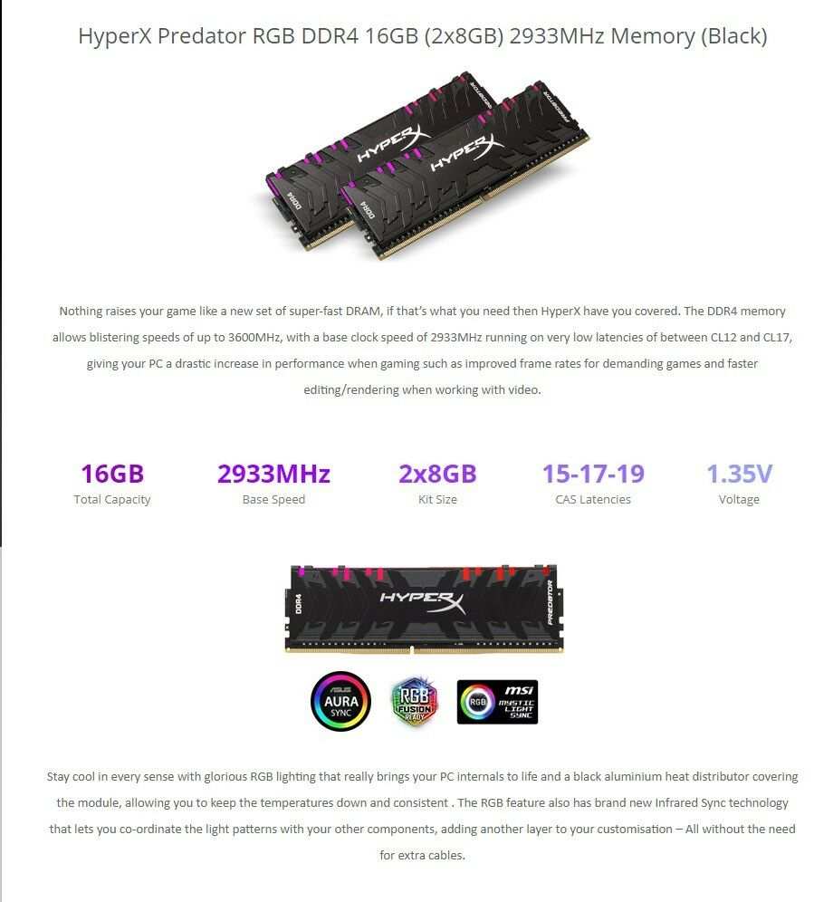 Kingston HYPER X PREDATOR 16GB (8x2) 2933 Mhz DDR4 RGB Gaming Memory RAM  Desktop Computer Overclock | in Leith Links, Edinburgh | Gumtree
