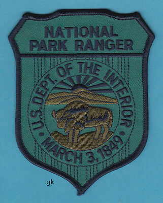 US NATIONAL PARK RANGER DEPARTMENT OF THE INTERIOR SHOULDER PATCH (Subdued blue)
