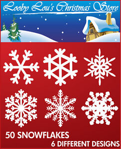 SNOWFLAKE-CHRISTMAS-WINDOW-STICKERS-EASY-TO-USE-CLINGS-SNOWFLAKES