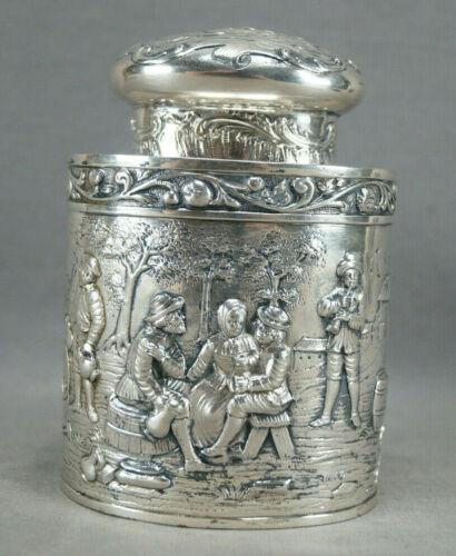 George Roth Hanau Germany 800 Silver Beer Garden Scene Tea Caddy C.1891-1919