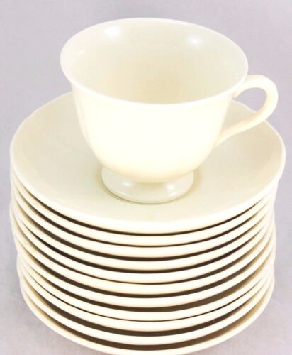 6 SETS WEDGWOOD BONE CHINA #502218 QUEENS SHAPE FOOTED CUPS & SAUCERS OFF WHITE