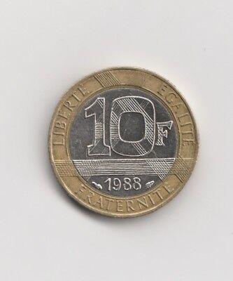 10   Francs Frankreich   1988  Bi-Metall  (1691)