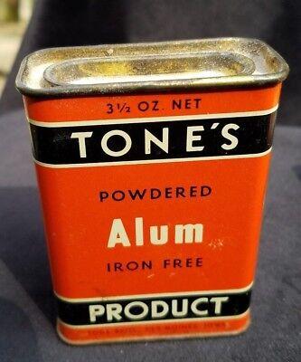 Vintage Advertising Tin Tone's Powdered Alum Iron Free Tone Bros Des Moines Iowa