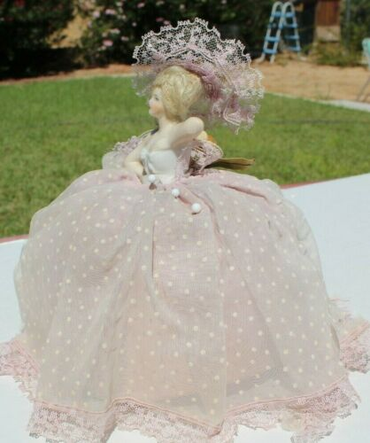 Antique Half Lady Porcelain Pin Doll Cushion Needle Pillow with Real Hair