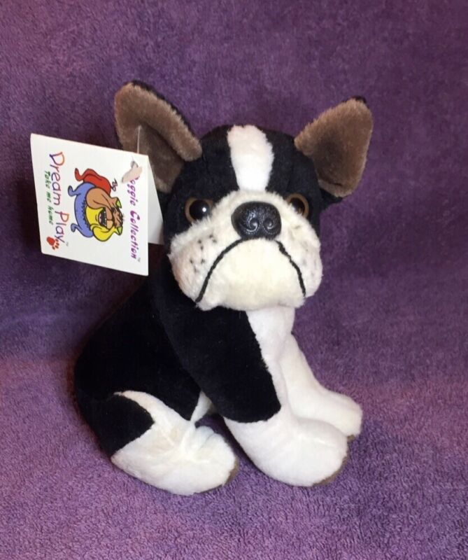 """DREAM PLAY DOGGIE COLLECTION 7"""" BOSTON TERRIER WITH TAG"""