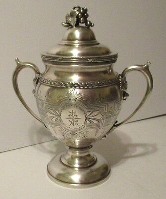 "Antique LARGE 9"" VICTORIAN ORNATE CHASED Silverplate SUGAR BOWL URN w Grapes VTG"
